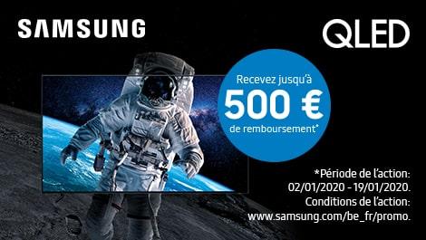 Samsung QLED ontvang tot €500 terugbetaald.