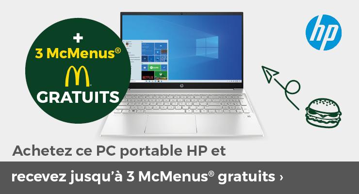 Achetez ce PC portable HP et recevez jusqu'à 3 McMenus gratuits