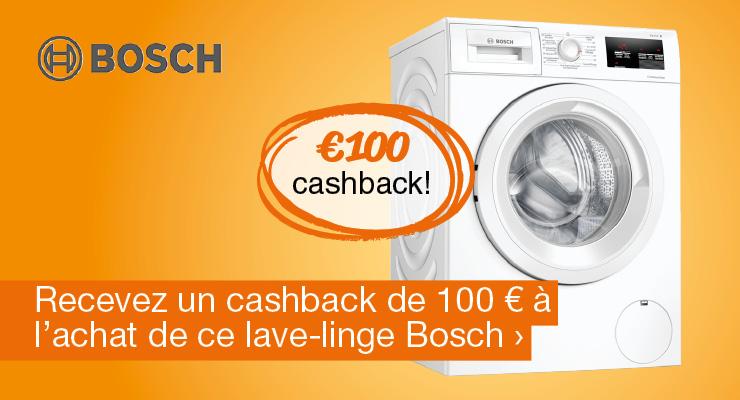 Recevez un cashback de 100 € à l'achat de ce lave-linge Bosch