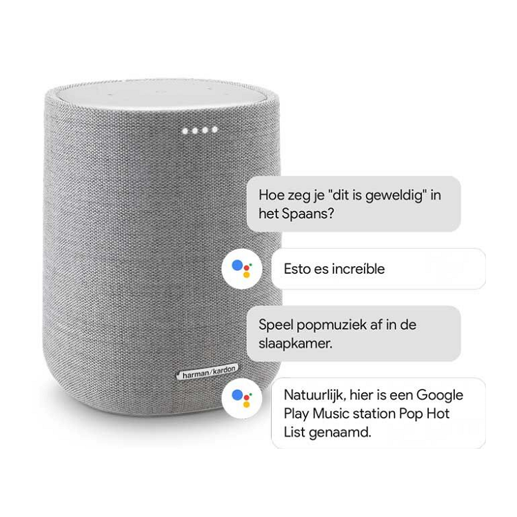 Citation speaker met Google Assistant en voorbeeld